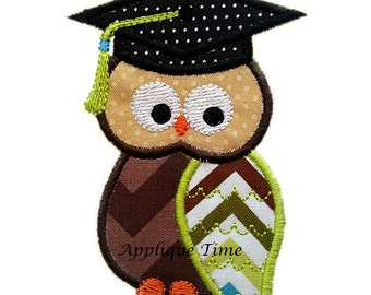 Instant Download Boy Graduation Owl Machine Embroidery Applique Design 4x4, 5x7 and 6x10
