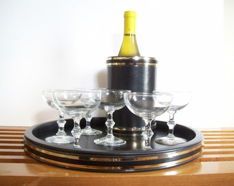 Vintage Serving Tray and Bottle Coaster, Black Vinyl with Gold Trim, Retro Barware