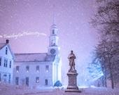 Travel photography blue purple radiant orchid white dreamy fairytale New England winter church snow night lights fine art photo