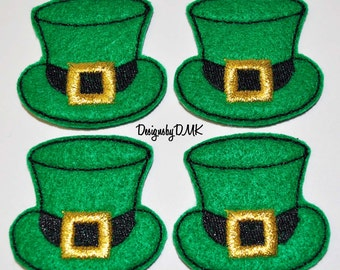 St. Patty's Day Leprechaun Hat Felt Embroidered Embellishment Clippie Cover SET of 4