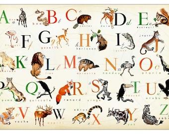 French Alphabet  - Horizontal - Wonderful Animal  Alphabet Print  17 x 11
