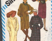 Vintage 1980's Women's Pullover Dress Pattern, Simplicity 6116 Sewing Pattern, Size 8