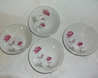 Vintage Set of 4 Nasco China Pink Bramble Rose Cereal Bowls Japan