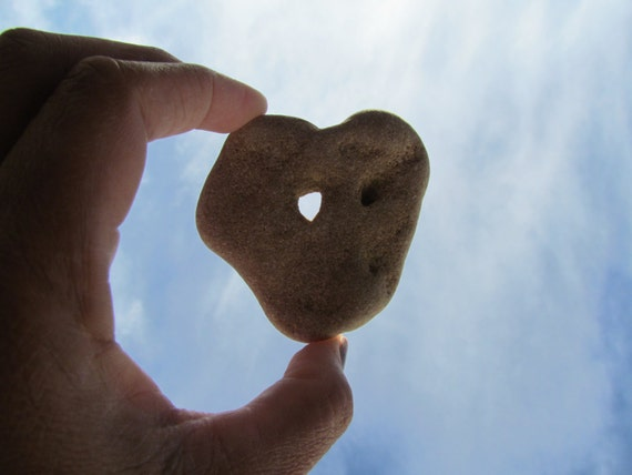 Large Heart Rock Stone with Natural Hole -- FREE SHIPPING,20%Discount Easter Sale