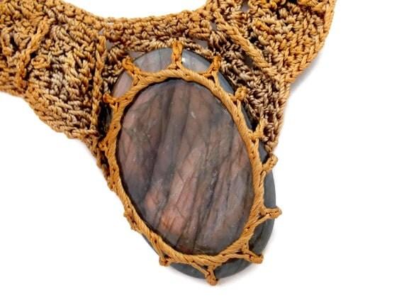 Lace necklace, Golden Bronze necklace, Black Labradorite gemstone necklace, OOAK necklace, Statement necklace, Vintage necklace