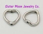 50 Heart Shaped Bead Frames Tibetan Silver Valentines Jewelry Making Supplies