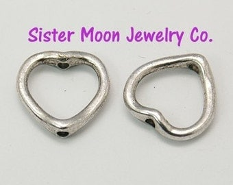 50 Heart Shaped Bead Frames Tibetan Silver Valentines Jewelry Making Supplies