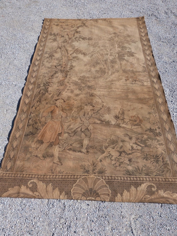 Antique French Large Tapestry Wall Hanging 1800s Chateau