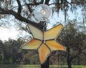 Starfish in Orange and White and Yellow Transluscent Textured Glass -  Authentic Stained Glass