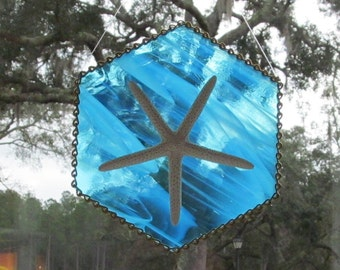 Aqua Blue & White Wispy Stained Glass Authentic Starfish Suncatcher with Decorative Brass Ladder Chain Hanger