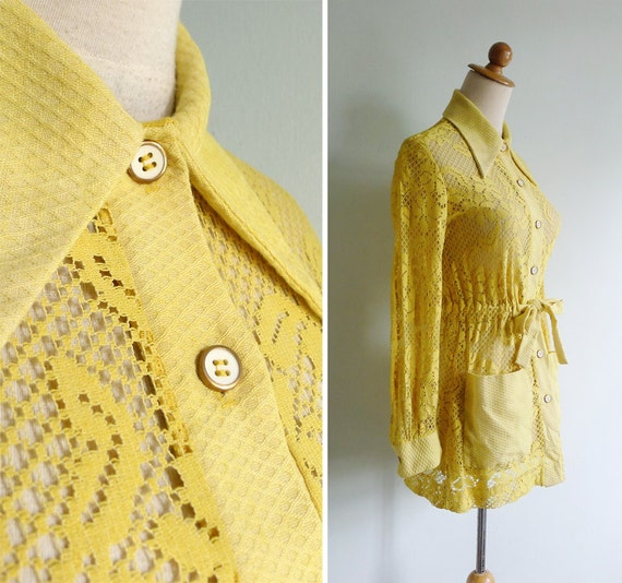 Vintage 60's Eyelet Lace Yellow Sheer Mini Dress Coverup XS or S