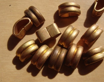 12 Large Vintage 50s Double Band Crescent Brass Links Very Hard To Find Findings