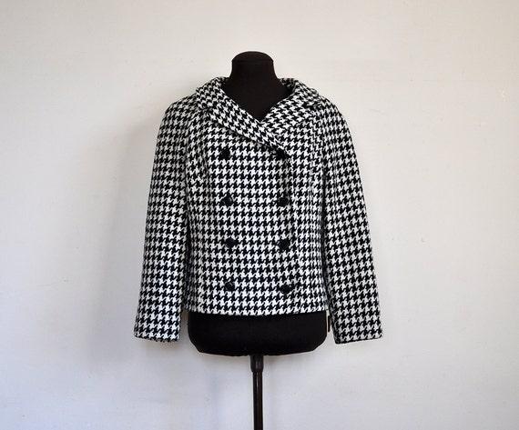 Vintage 60s Wool Houndstooth Jacket Black & White Mad Men / by Claret / size S M