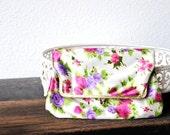 Vintage Purse Clutch, Kiss Lock Satin Fold Over Sweet Lilac & Pink Rose After Five Handbag