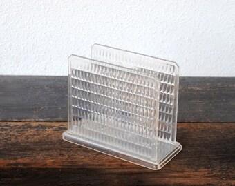 Vintage Plastic Rack Mail Desk Organizer or Napkin Holder, Kitchen or Office Decor