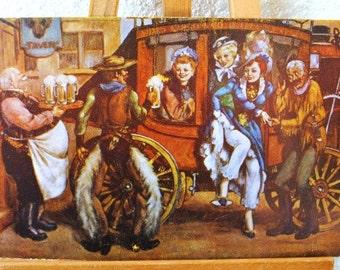 1950s Vintage Las Vegas Postcard, Club Bingo Western Painting, RARE Unused Beer Limerick Post Card