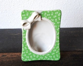 Vintage Porcelain Picture Frame, Unique Green White Flowers Bow & Beading, Girls Room Nursery Decor