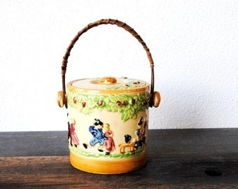 Vintage Japanese Tea Jar, Biscuit Bamboo Wood Handle Hand Painted Dancing Couple Musicians, Collectible Decor