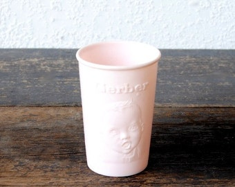 Vintage Baby Cup, Gerber Pink Plastic Adorable Promotional Advertising