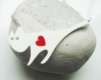Harriet the Cat laser cut acrylic necklace with a swappable coloured heart