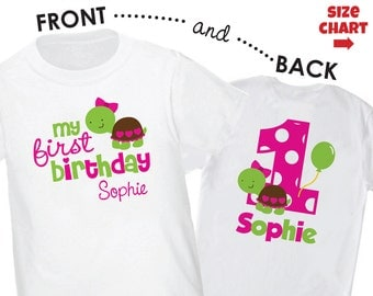 Turtle 1st Birthday Shirt Personalized (Girls Front/Back Shirt) - Personalized with Child's Name & Age