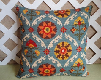 Floral Pillow Cover in Blue Orange Gold Brown and Cream / Blue Pillow / Accent Pillow / Throw Pillow / 18 x 18 Pillow