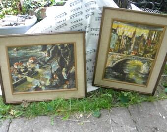 2 vintage 1950s 1960s framed VAN AMSTEL california signed GATA prints