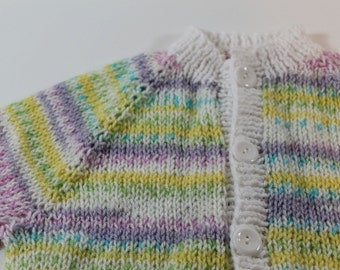 Baby cardigan sweater for boy or girl: spring Easter colors