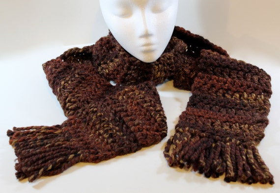 Extra long crochet scarf with tassels: sequoia for women or men