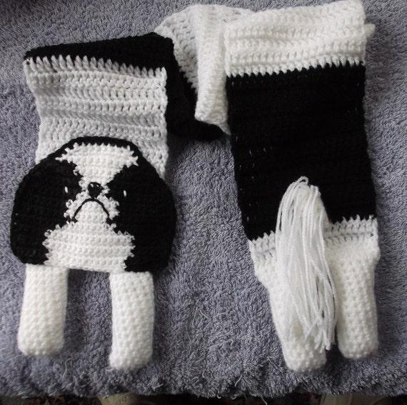 japanese chin dog crochet scarf
