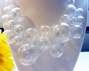 Billions of Bubbles Necklace - Unique Glass Bubble Abstract Statement Necklace by Weirdly Cute