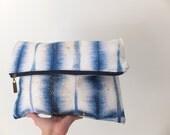 Batik Shibori Clutch / Fold over clutch / Shibori clutch / Hand dyed clutch / Carry all pouch / Batik - Tie Dye - Shibori / OOAK clutch