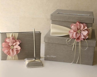 Wedding card box, guest book and pen set - (Custom Made to Order)