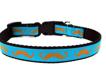 "Mustache Dog Collar 3/4"" Fun Dog Collar in Turquoise SIZE SMALL"