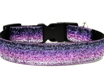 """Purple Dog Collar 1"""" Glitter Dog Collar"""