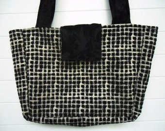 Boho Bag Purse Black and White Checkered Chenille
