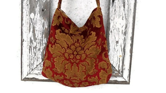 Bohemian Gypsy Bag Purse Hobo Chenille Red Gold Handmade Silk Victorian Edwardian