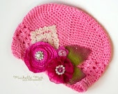 Lady Lyra Raspberry Hat, Hot Pink Rose, Child Hat, Infant Hat, Baby Hat- Cotton beanie with vintage lace, rose flowers, pearls and leaves