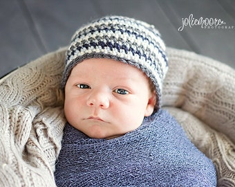 Newborn Boy Striped Beanie - Newborn - Made to Order