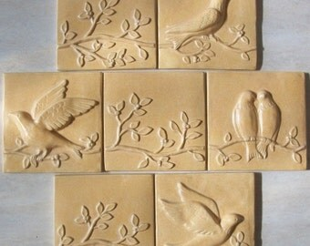 Ceramic Relief Tiles -- Birds on a Vine Plus -- Set of 7 tiles in Ivory Stone Glaze, IN STOCK