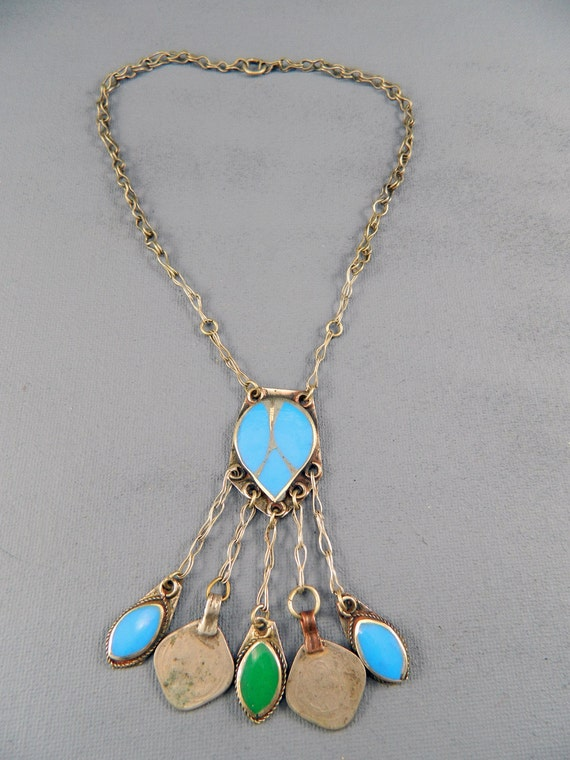 Vintage Afghan Kuchi Nomad Gypsy Tribal Small Necklace