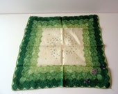 3 Tones of Green Frame this Lovely Hand-Embroidered Hankie