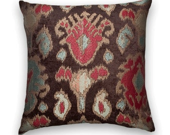 Brown, Red Chenille IKAT- Decorative Pillow Cover -- 18x18 or 20x20 or 22x22- Turquoise and Gold- Accent Pillow Covers