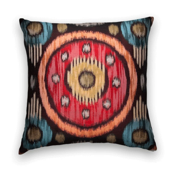 Designer Suzani Pillow Cover-  Designer Throw Pillow, Duralee Accent Pillows, Orange, Red, Black, Gold, Turqouise,Sand.
