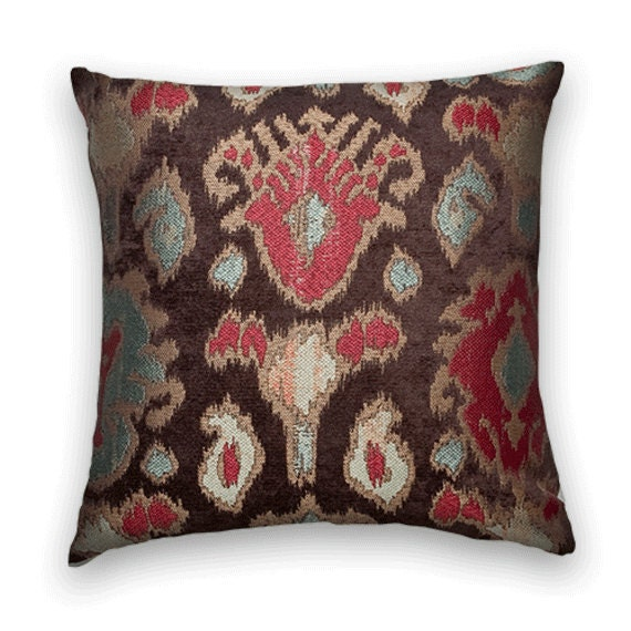 Brown Chenille Throw Pillows : Brown Red Chenille IKAT Decorative Pillow Cover 18x18 or