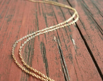 "Gold Chain Necklace 16"" to 42"" 14 Kt Gold Fill 1.1 MM Cable Chain With Spring Ring Clasp"