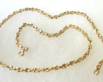 Gold Tone 21 Inch Nugget Look Chain Necklace
