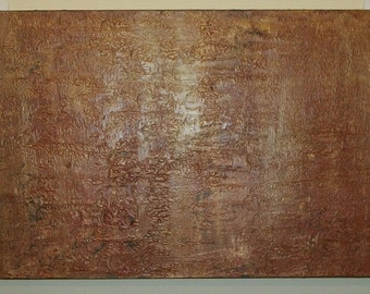 Rocky Facade Gold Brown Textured 18x36 1.5x3 Abstract Acrylic Painting  on Canvas