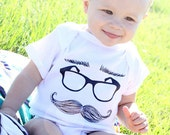 mustache eyeglasses eyebrows - graphic printed on Infant Baby One-piece, Infant Tee, Toddler, Youth Shirt
