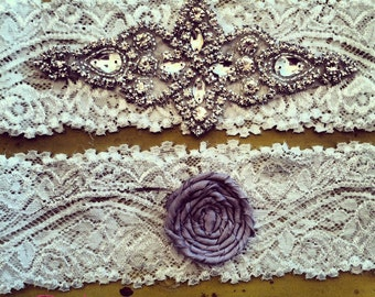 Rhinestone Wedding garter Vintage inspired / bridal garter/ lace garter / toss garter / Something Blue wedding garter / Shabby Chic